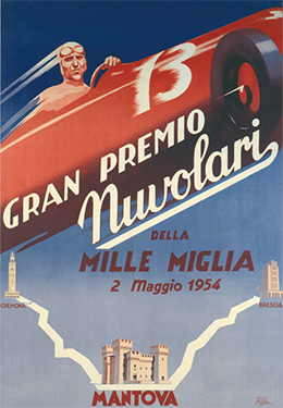 Poster of the year 1954 of the<br>1° edition of the Gran Premio Nuvolari.